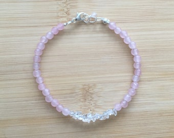 Rose Quartz and Herkimer Diamond Bracelet, Delicate Beaded Bracelet, Sterling Silver and Rose Quartz Jewelry, Stacking Gemstone Bracelet