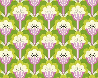 Nicey Jane Slim Pop Blossom in Green by Heather Bailey - 1 Yard
