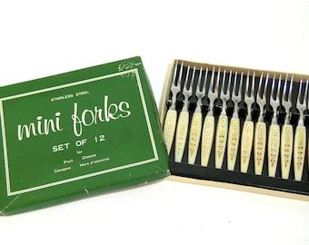 Vintage Canape Forks, Boxed Set