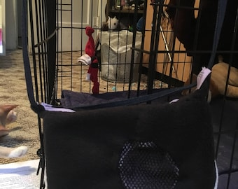 Handmade black and white tote for small animals