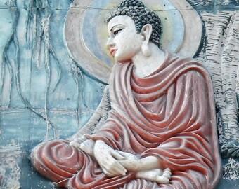 Red & Blue Buddha Photography, Asian Art, Buddha Print, Zen Art, Meditation Wall Art, Zen Decor, Buddah Art, Asian Decor,Turquoise Yoga Art
