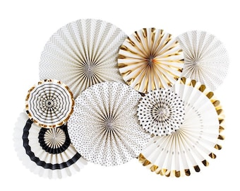 Black Tie Paper Party Fans - Set of 8 - Black and Gold Party Decor - New Year's Eve Party Fans - NYE Decor - Black, White and Gold Wedding