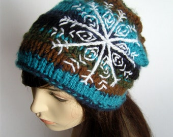 Womens Knit Slouch Hat with Snowflake Knit Hat Slouchy Hat Women's Slouchy Beanie Brown Blue Green Black Boho Hat Bohemian - MADE TO ORDER