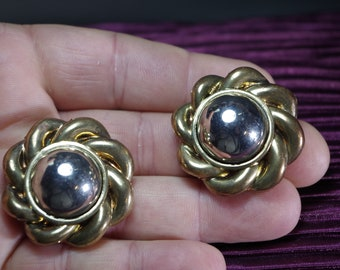 Vintage Clip On Earrings Chunky Gold & Silver Tone Costume Fashion Jewelry