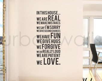 Vinyl Wall Sticker Decal, In this house we do