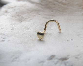 Golden Tiny Heart Nose ring Stud..20g