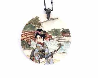 Broken china jewelry -  round oriental girl necklace - recycled materials- upcycled China
