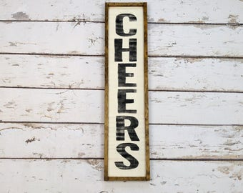 Cheers Sign, Bar Sign, Farmhouse Decor, Wood Cheers Sign, Custom Wood Sign, Kitchen Sign, Framed Wood Sign, Vertical Sign
