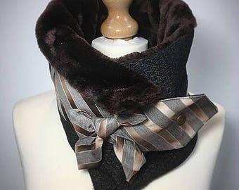 Brown Faux fur cowl scarf, womens scarf, womens cowl, Ultimate neck warmer, faux fur snood, Amanda Sutherland