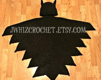 Crochet Hooded Batman Cape Blanket Pattern, Toddler Size, Child Size, Adult Size, Batman Blanket, Superhero Cape, PDF Pattern