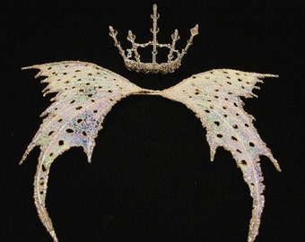 Fairy Wings-Silver Wings & Crown-OOAK Doll and Bear sizes (Made To Order by Request)