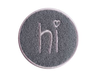 "Likalla xl Chenille Patch ""HI"", for ironing, pink/Anthracite"