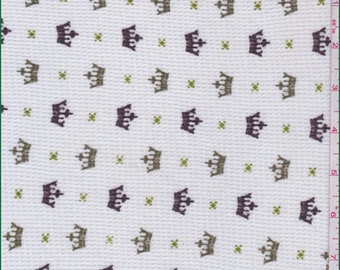 White/Olive Crown Print Thermal Knit, Fabric By The Yard