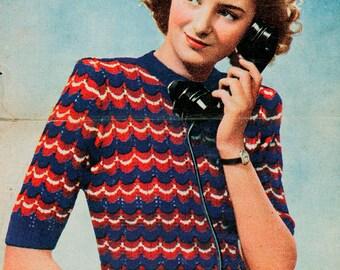 PDF Victory Jumper 1945 WW2 Knitting Pattern - 1940s, Retro, ww2 - PDF instant download