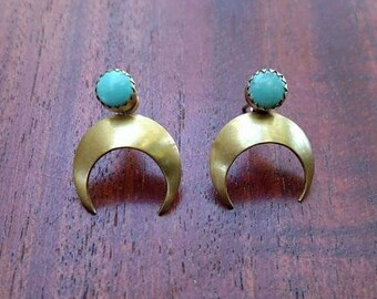 Turquoise stud earrings with crescent moon ear jackets