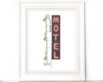 SALE 8x10 inch Mesa Diving Girl Neon Starlight Motel Sign - hand drawn - Art Print