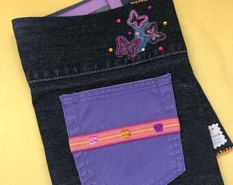 "Removable Reusable Denim Composition Book Cover, 7.5"" x 9.75"" // Pink and Purple Butterflies, Purple Pocket"