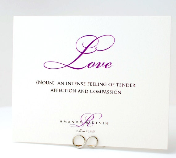 Items Similar To Words Of Love And Marriage Purple Wedding Table Number Cards On Etsy