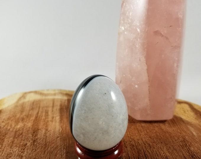 Featured listing image: Evil Eye Agate (a.k.a Bulls Eye Agate or Orbicular Agate) Yoni Egg w/ Stand! (Specimen B) ~Yogi, Meditation, Witch, Mystic, Sacred Sex