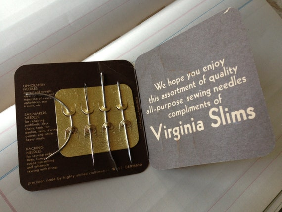 Pack interior: We hope you enjoy this assortment of quality all-purpose sewing needles compliments of Virginia Slims