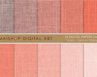 Digital Paper Linen 'Salmon Shades' Apricot, Melon, Tea Rose... Textured Papers for Scrapbook, Paper Crafts, Invitations...