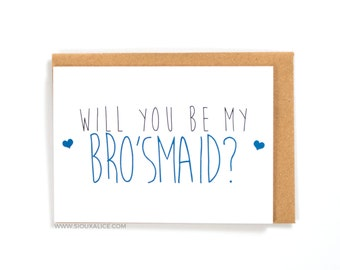 Will you be my man of honour / brosmaid card bridesmaid man of honour wedding, gift male bridesmaids cards, greetings card, best friend card