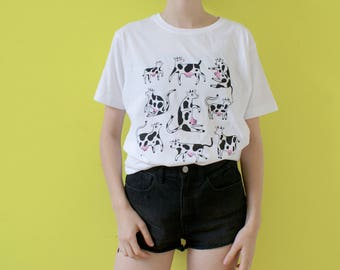 Screen Printed COW T-shirt! Cute COWS! Two Color Screen Print!