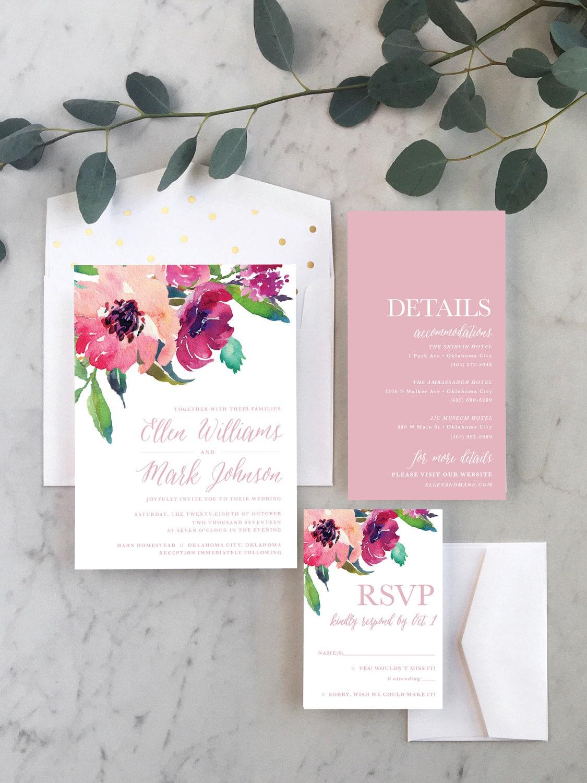 Magenta Wildflower Wedding Invitations