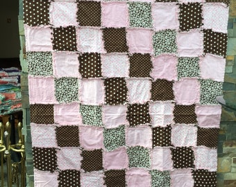 Pink and Brown rag quilt