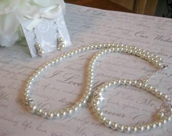 Bridal Pearl Rhinestone Jewelry Set/Wedding Jewelry Set/Bridesmaid Jewelry Set/Pearl Necklace Bracelet and Earring Set