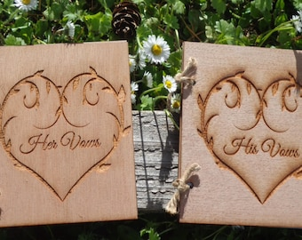 Vow Books Set, His and Hers Heart Books, Rustic Vow Books, Wood Vow Books, Bridal Shower Gift, Country Wedding, Rustic Barn Wedding