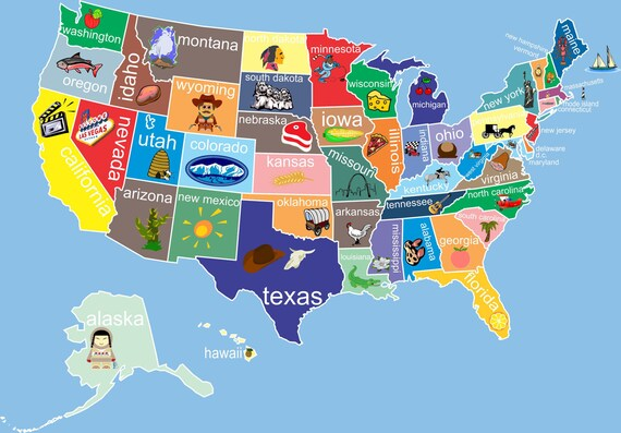 kids united states map classroom art childs room decor nursery