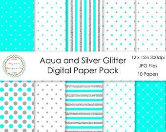 Aqua and Silver Glitter Digital Paper Pack | Digital Paper, Scrapbook Paper, Printable Paper, Digital Scrapbook | Instant Download