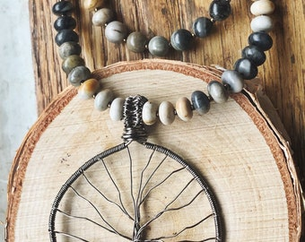Beaded Picasso Jasper Tree of Life Necklace