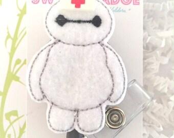 Feltie Badge Reel - Baymax -  Badge Holder - Retractable Badge Reel - ID Badge Clip - Nurse - RN Badge -  Badge - Mysweetbadge