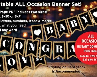 Party Decoration, All Occasion Printable Banner Instant Download DIY - 2 Sizes for One price! Includes ALL letters, numbers, symbols