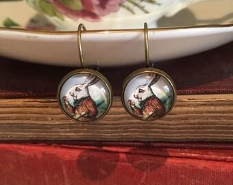 Rabbit Earrings, Alice in Wonderland Earrings, White Rabbit Dangle Earrings, Alice Earrings, Tenniel illustration, Alice
