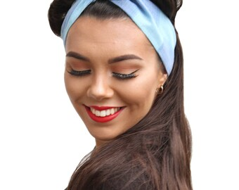 Blue Vintage Retro Fabric Land Girl Rockabilly Pinup 50s Style Head Scarf
