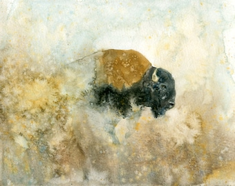 Bison Original watercolor painting 10x8inch