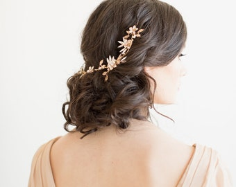 Gold Bridal Headpiece,  Crystal Bridal Hair Vine, Gold Wedding Hair Vine, Bridal Hairpiece, Gold Hair Vine