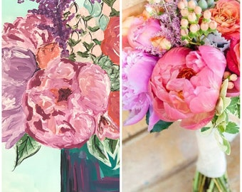 Custom wedding flower bouquet painting
