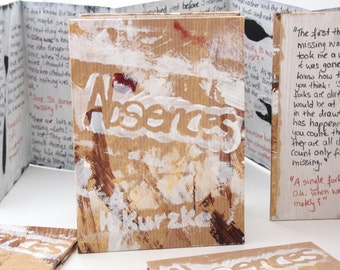 Absences, handwritten and stencilled artist book, accordion binding