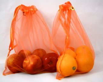 You pick any color 4 Reusable produce bags Tangerine Eco friendly Fabulous new color