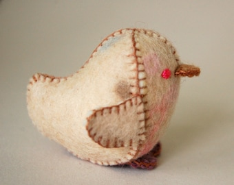 Beige and Purple Spotted Felted Baby Chicken Toy -- Handmade Felt Pure Wool Unique Baby Chicken