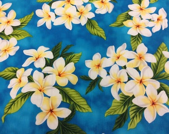 Beautiful Tropical Plumerias in Cotton Fabric  (Yardage Available)