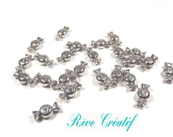40pcs Tibetan Style Beads, Candy with Word Love, Antique Silver Color, Size: about 11mm long, 6mm wide, 4mm thick, hole 1mm