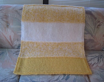 YELLOW and WHITE Boucle Blanket