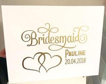 Personalised Wedding Party Gift Box - Bride Bridesmaid Maid of Honour Ect