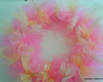 Ballerina Pink and Gold Tutu Wreath, Front Door Baby Shower wreath, new baby hospital door, Nursery Door Decoration, Pink gold tutu wreath