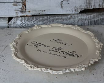 Vanity Tray / Footed Metal Vanity Tray / Dresser / Jewelry / Shabby Chic Makeup Tray / French Graphic Vanity Tray / Wedding Shower Gift